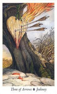 Lá Three of Arrows - Wildwood Tarot 1